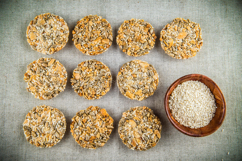 Cookies with seeds stock photo