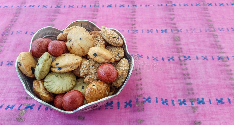 Cookies in a Silver Bowl. Cookies Served in a Silver Bowl royalty free stock photography
