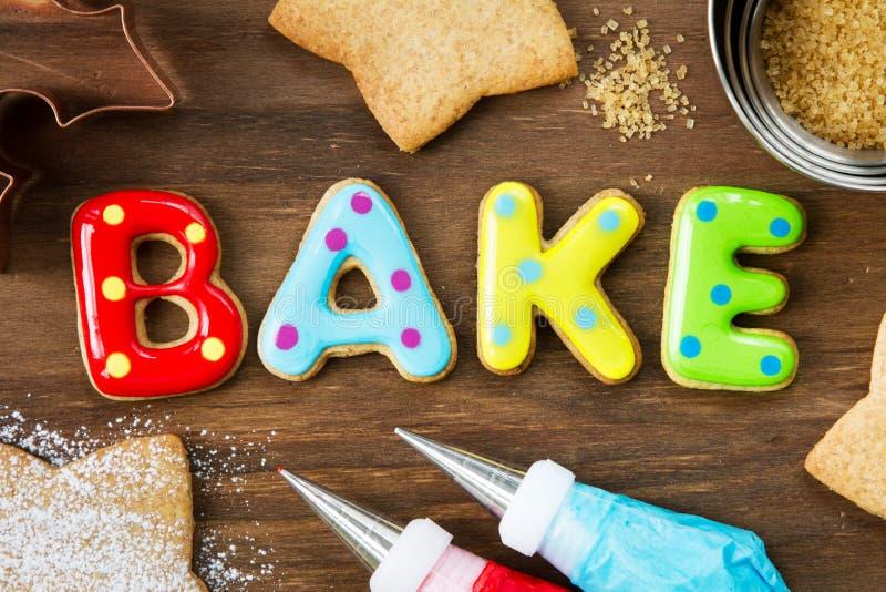 Cookies spellling bake royalty free stock images