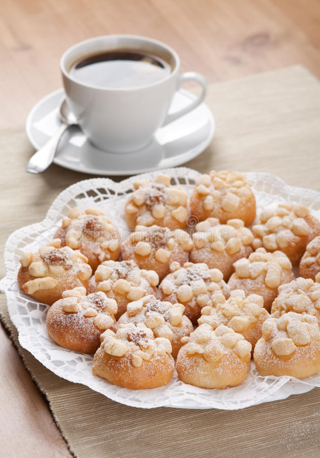 Cookies Sprinkled With Sugar A Cup Of Coffee Stock Photos