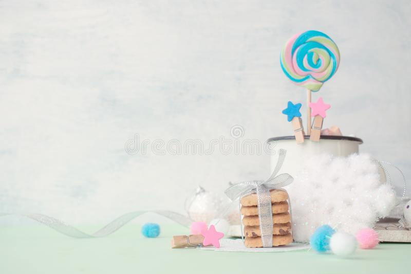 Cookies stack gift with festive Christmas winter decor on a bright punchy colors stock photos