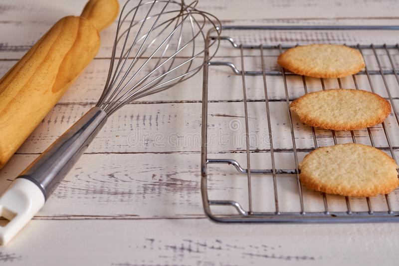 Cookies taken from the oven on a table stock photography