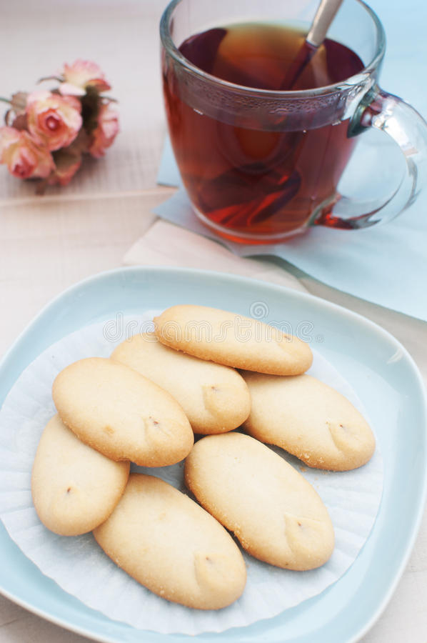 Cookies Tea And Flowers Top View Royalty Free Stock Photos