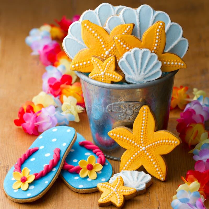 Cookies temáticos da praia fotografia de stock