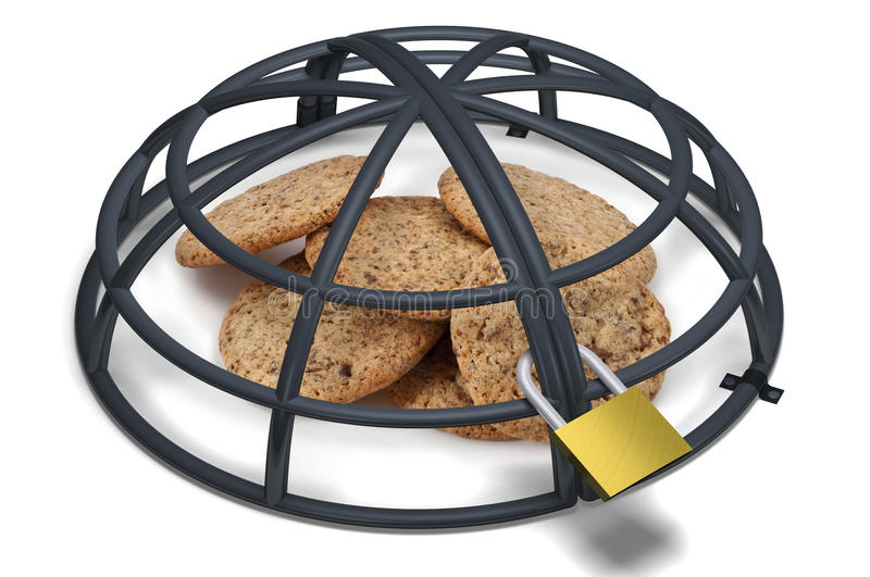 Cookies under a metallic locked cage royalty free illustration