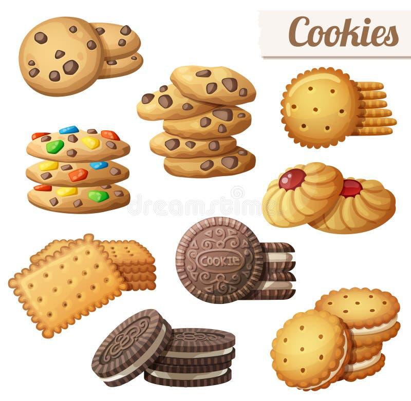 Cookies Uppsättning av symboler för tecknad filmvektormat stock illustrationer