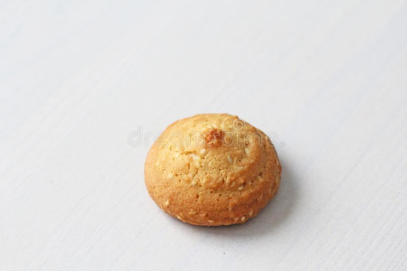 Cookies on a white background, similar to female nipples. nipples in the form of cookies. Humor, double meaning stock photography