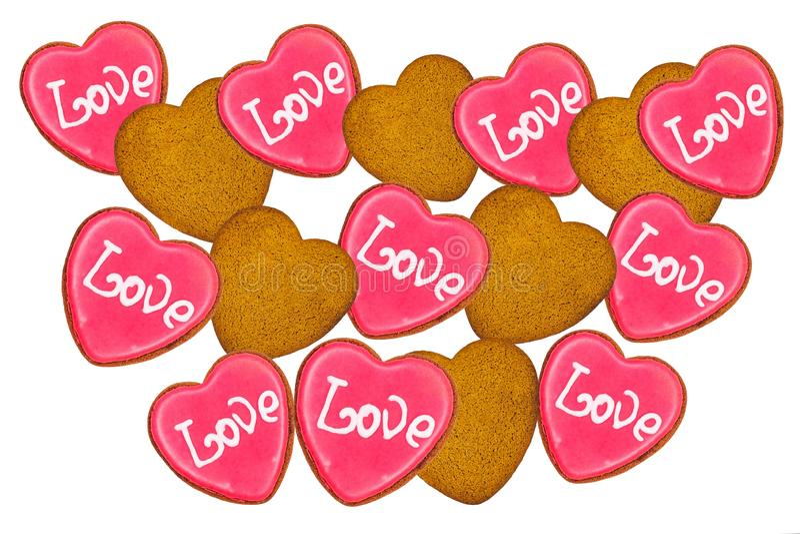 Cookies white för vektor för bakgrundshjärtaillustration röd typ på måfå ord för förälskelse för bakgrundsgrungeboktryck fotografering för bildbyråer