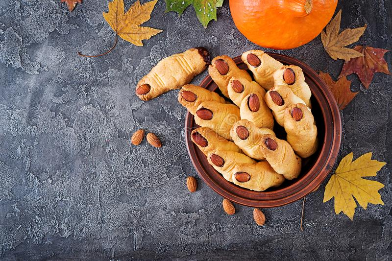Cookies witch fingers, funny recipe for Halloween party. royalty free stock photography