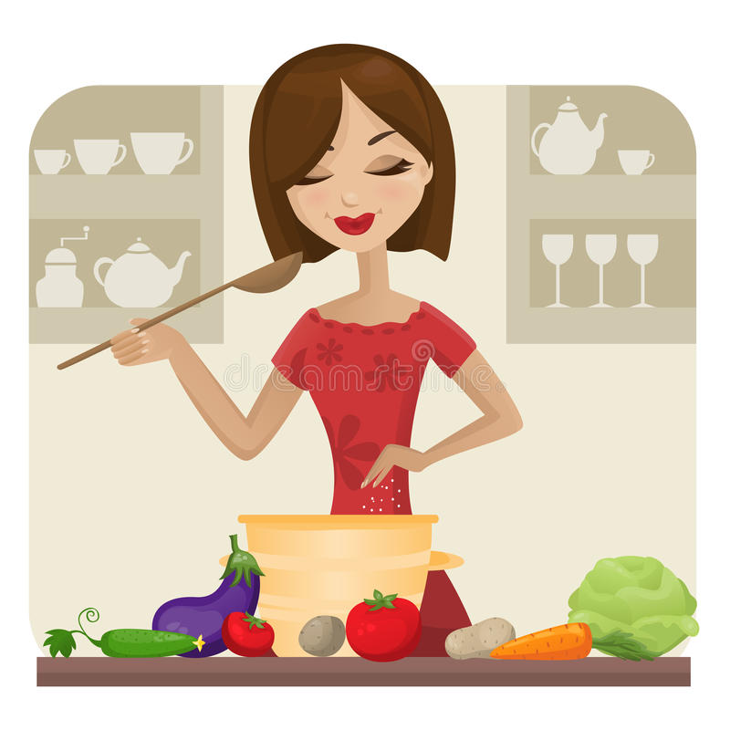 Cooking. Young woman cooking in the kitchen vector illustration