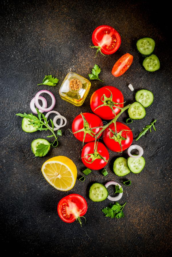 Cooking background, fresh salad ingredients, italian cuisine - t royalty free stock image