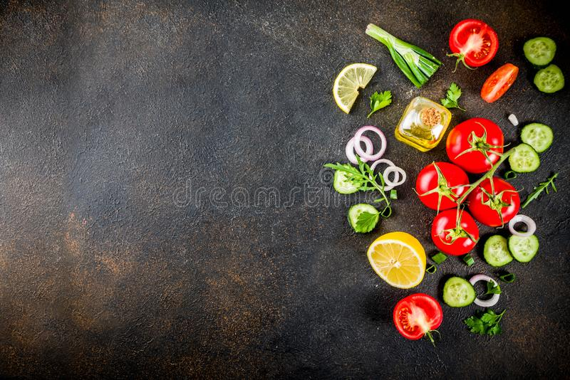 Cooking background, salad ingredients stock image
