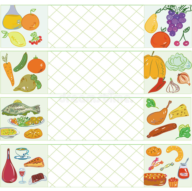 Download Cooking Banners With Different Food Stock Vector - Illustration: 13462399