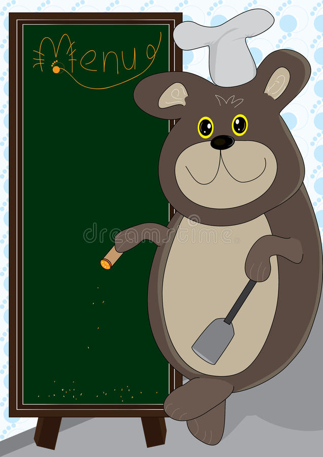 Cooking Bear And Menu Board_eps vector illustration