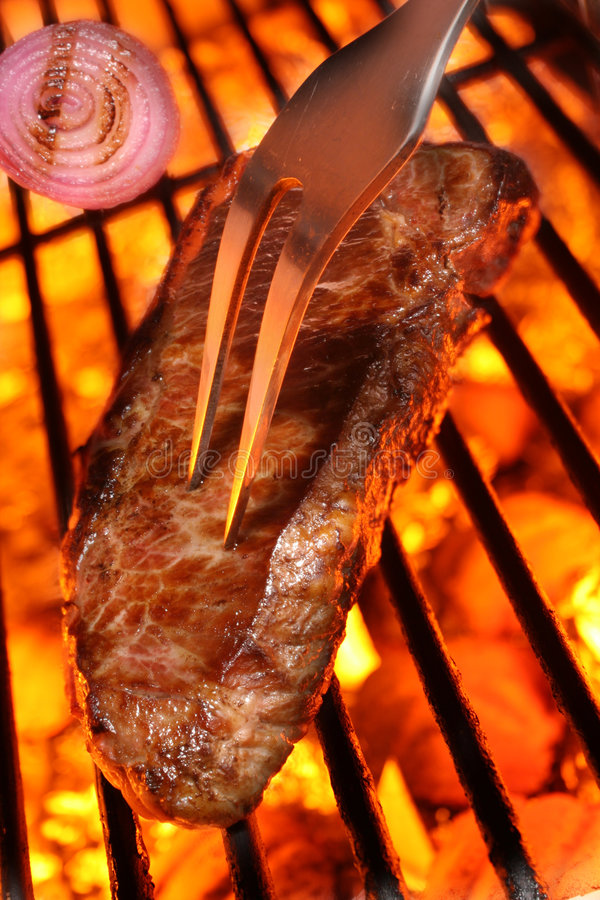 Download Cooking A Beef Steak On A Barbecue Grill Stock Images - Image: 5829064