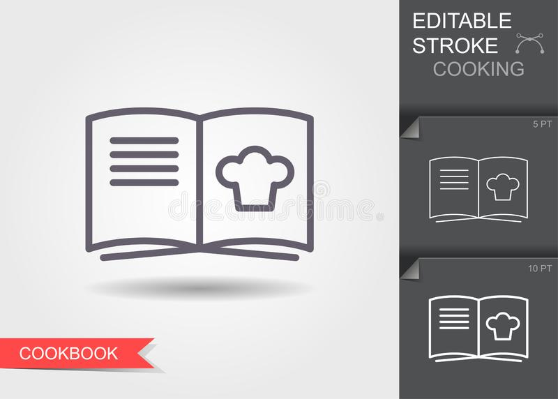 Cooking book. Line icon with editable stroke with shadow. Cooking book. Outline icon with editable stroke. Linear symbol of the kitchen and cooking with shadow vector illustration