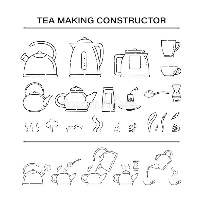 Cooking brew tea procedure constructor set icons. How to make hot drink teapot and boil in the kettle water vector line. Art sketch black white isolated royalty free illustration