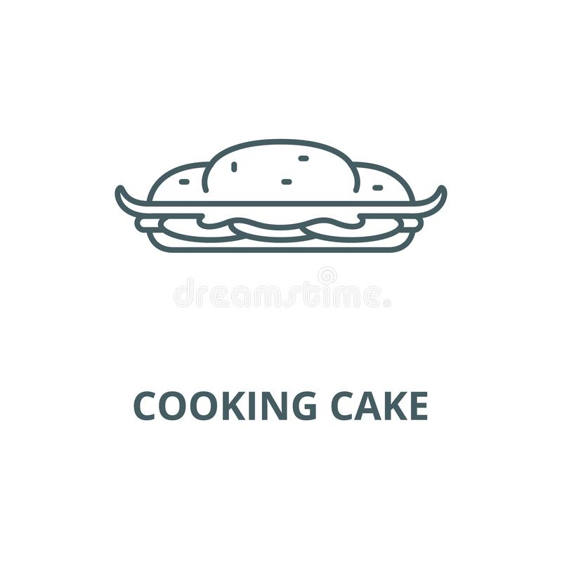 Cooking cake line icon, vector. Cooking cake outline sign, concept symbol, flat illustration. Cooking cake line icon, vector. Cooking cake outline sign, concept stock illustration