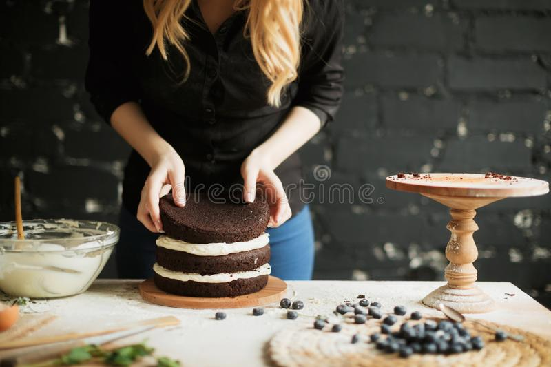 Cooking cake on the table and baking cake ingredients stock photo