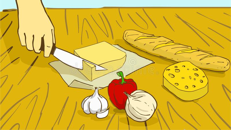 Cooking. Cartoon Hand cuts a piece of butter stock illustration