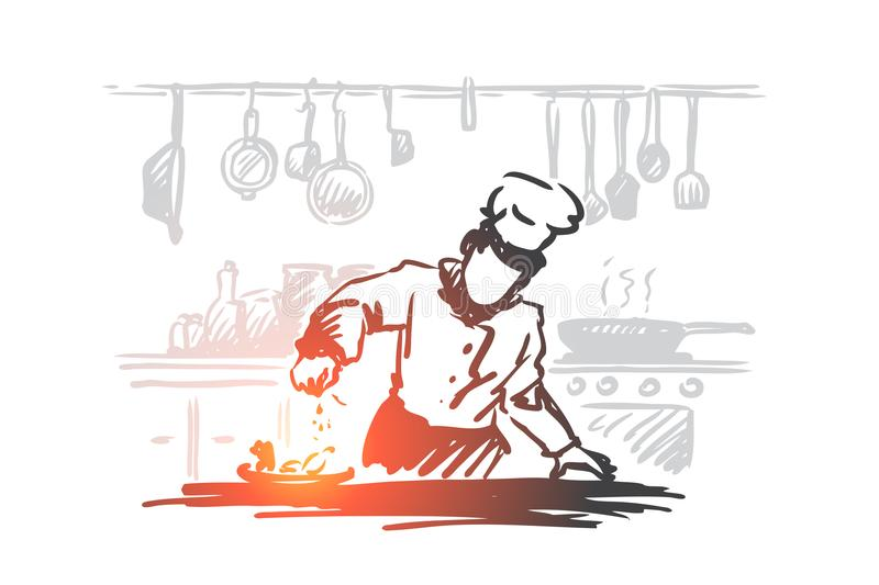 Cooking, chef, food, meal concept. Hand drawn isolated vector. Cooking, chef, food, meal concept. Hand drawn chef preparing dish in restaurant concept sketch vector illustration