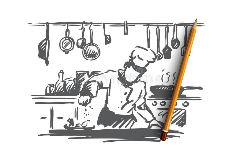 Cooking, chef, food, meal concept. Hand drawn isolated vector. Cooking, chef, food, meal concept. Hand drawn chef preparing dish in restaurant concept sketch stock illustration