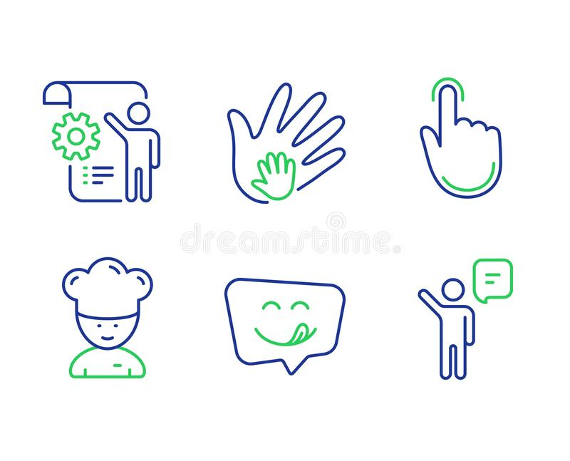 Cooking chef, Hand click and Yummy smile icons set. Settings blueprint, Social responsibility and Agent signs. Vector. Cooking chef, Hand click and Yummy smile royalty free illustration