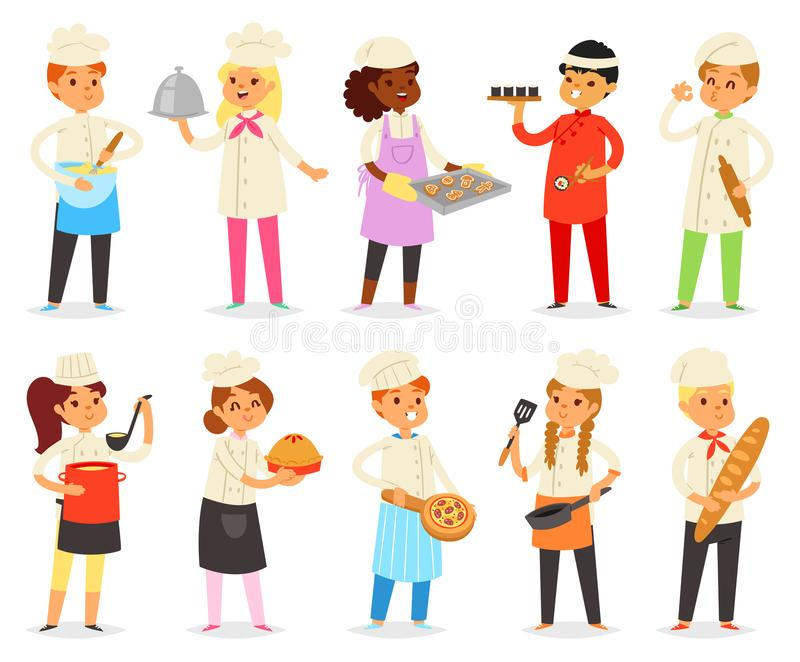 Cooking child vector children characters boy girl chef cooking food baking cookies illustration kitchener set of kids. Preparing pastry in kitchen isolated on vector illustration