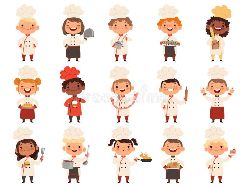 Cooking childrens. Little funny laugh kids making food profession chef vector boys and girls stock illustration