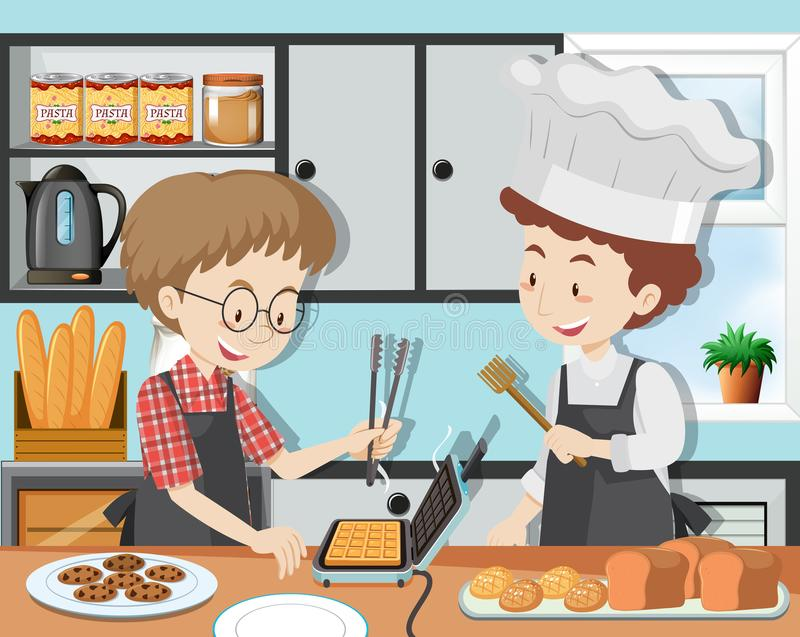 A Cooking Class with Professinal Chef royalty free illustration
