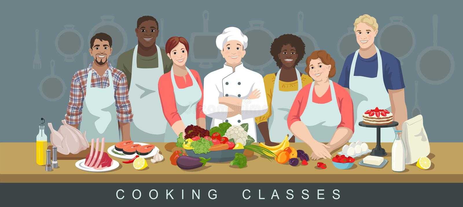 Cooking classes 3 royalty free illustration