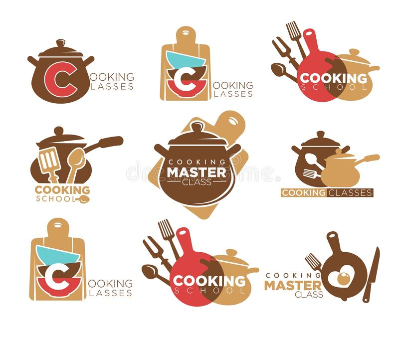 Cooking classes promotional emblems set with saucepans and cutlery royalty free illustration