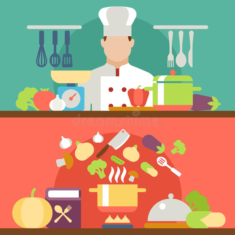 Cooking concept flat icons set. Creative cooking concept flat icons set of meal restaurant kitchen art cookery chief process delicious food and vector web vector illustration