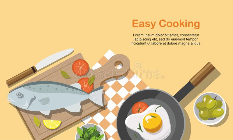 Cooking consept. Fried egg, fish, Vegetables with spinach, Frying Pan. Top view royalty free illustration