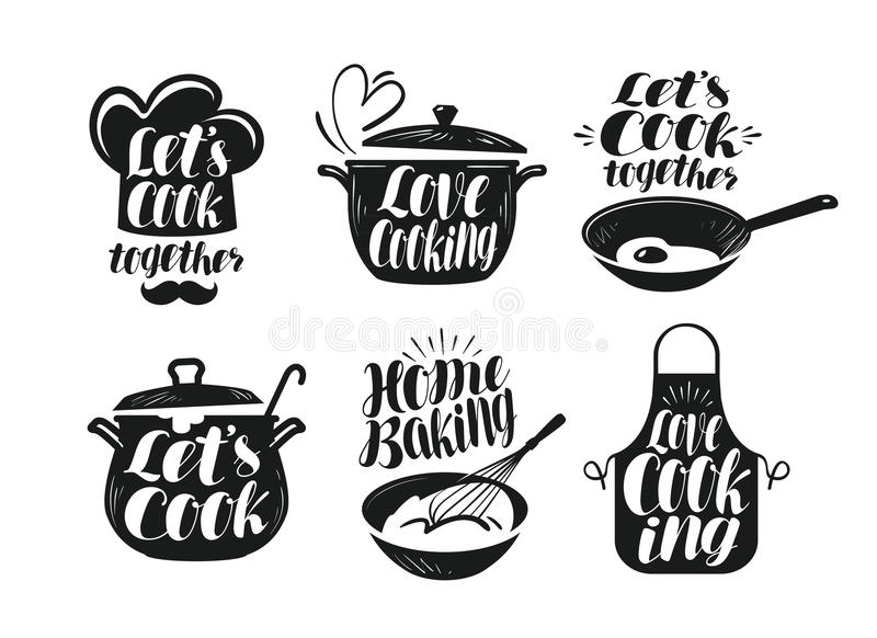 Cooking, cookery, cuisine label set. Cook, chef, kitchen utensils icon or logo. Handwritten lettering, calligraphy royalty free illustration