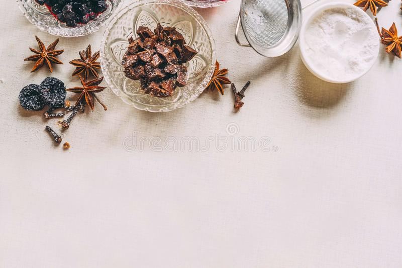 Cooking delicious. Sweets with jam and cinnamon and powder to tea.Top view, Copy space for text, Flatlay royalty free stock images