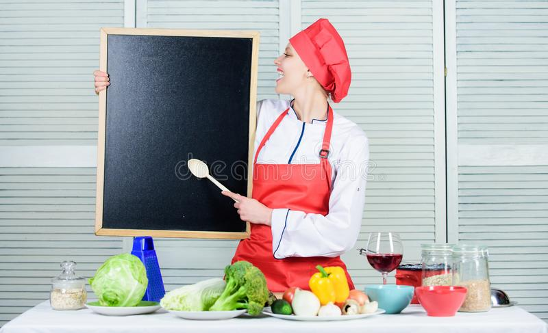 Cooking delicious meal step by step. Cooking menu for today. List ingredients cooking dish. Looking for colleagues. Staff wanted. Woman chef hat apron hold royalty free stock photos