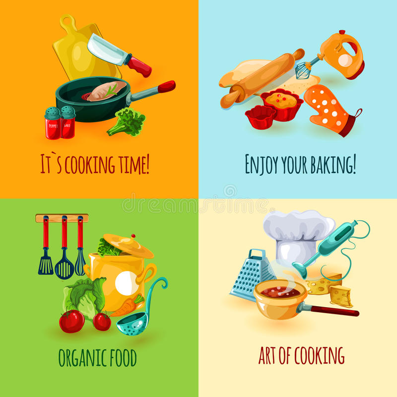 Cooking Design Concept. Set with food baking icons isolated vector illustration stock illustration