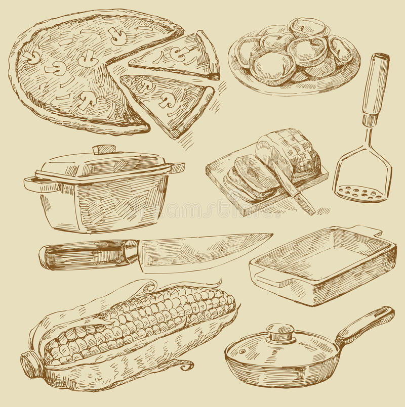 Cooking doodles royalty free stock image