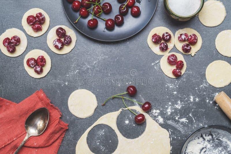 Cooking Dumplings. Ukrainian traditional cuisine. Top view royalty free stock photo