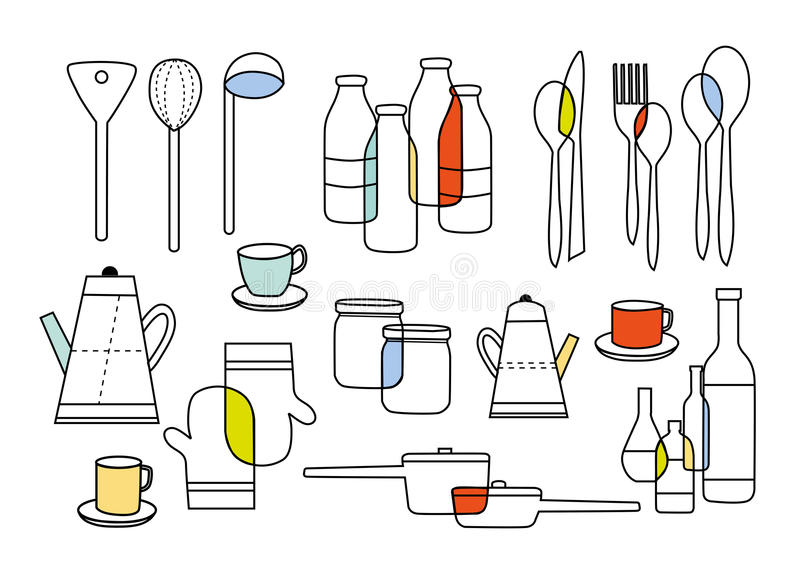 Cooking eating and home ware equipments stock illustration