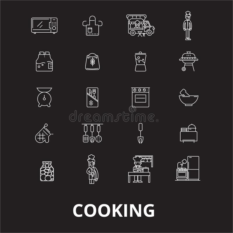 Cooking editable line icons vector set on black background. Cooking white outline illustrations, signs, symbols stock illustration