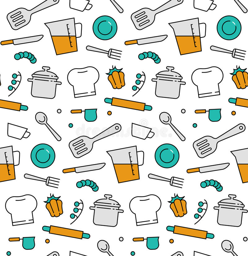 Cooking elements seamless icons pattern stock illustration