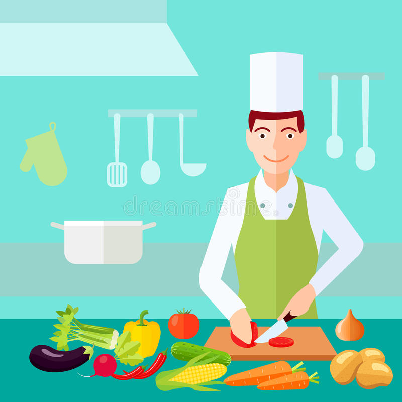 Cooking Flat Color Concept. Cooking process chef cut tomato with much of vegetables on table flat color concept vector illustration vector illustration