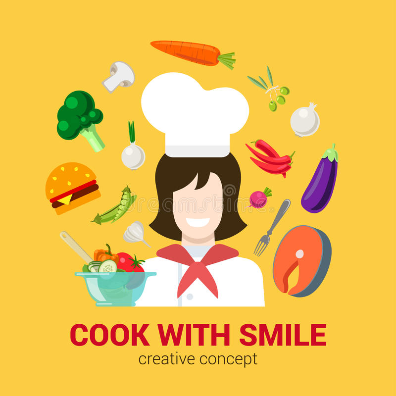 Cooking flat vector logo concept: cook chief, food, kitchen. Flat style creative cooking fresh cook with smile concept. Happy smiling female kitchen professional royalty free illustration