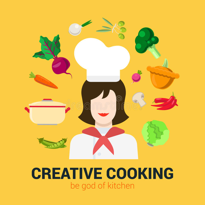 Cooking flat vector logo concept: cook chief, food, kitchen. Flat style modern fresh creative cooking concept. Happy smiling female kitchen professional chief vector illustration