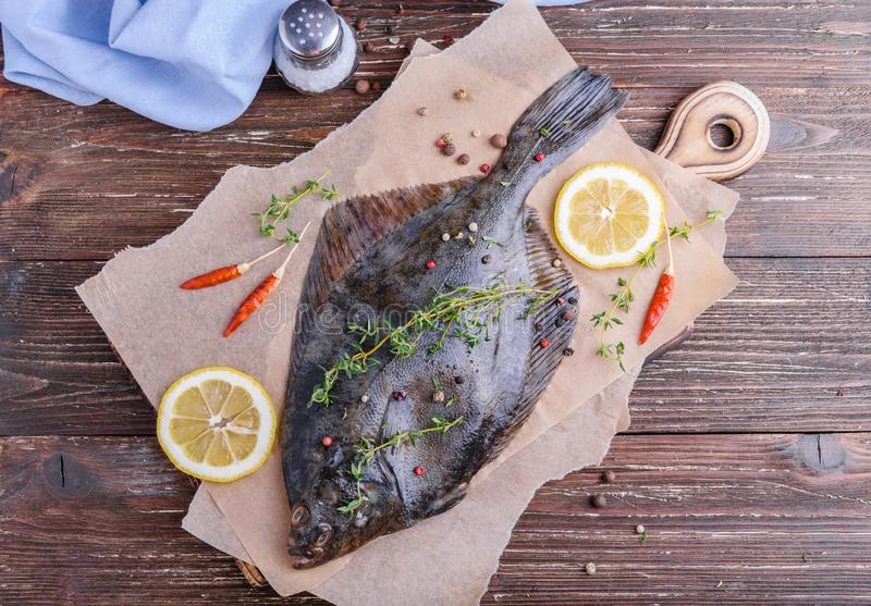 Cooking flounder fish royalty free stock photo