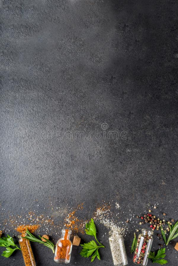 Cooking food background with herbs, olive oil and spices stock photography