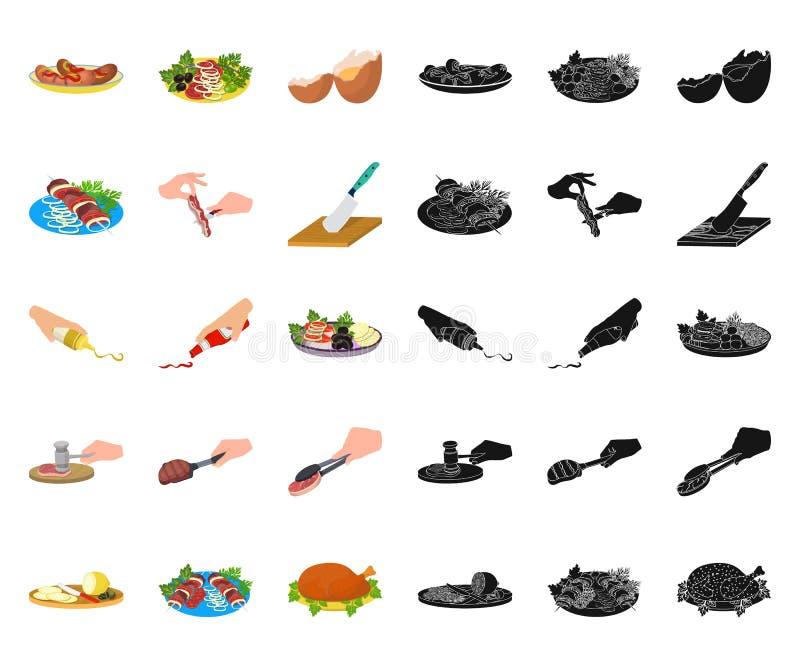 Cooking Food Cartoon, schwarze Icons in set collection for design Katzengewebe, Ausrüstung und Werkzeuge; Vektor-Symbol lizenzfreie abbildung