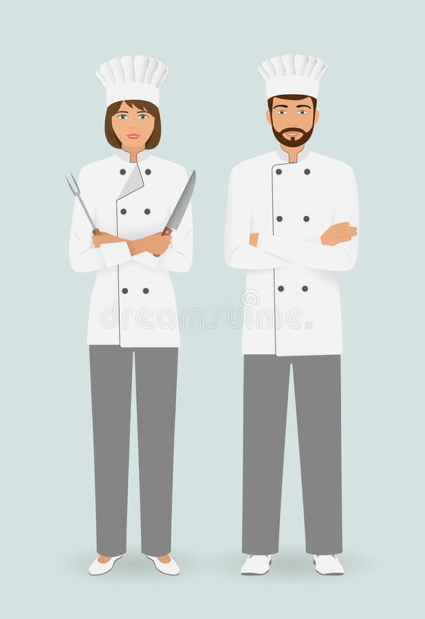 Cooking food characters. Couple of male and female chefs standing together with utensil. Restaurant team concept. stock illustration